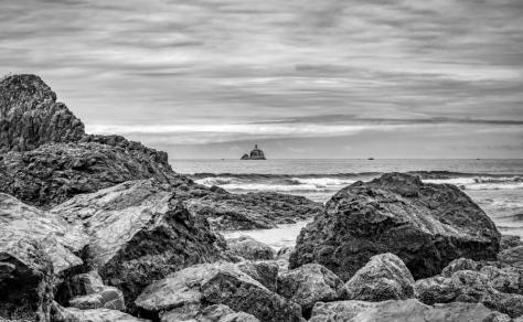 Tillamook Rock Lighthouse from Submarine Rock at Indian Beach